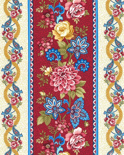 Summer Festival - Paisley & Blossom Stripe - Dk Red