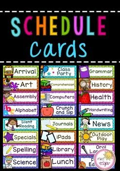 Schedule Cards:Schedule Cards EDITABLE; Schedule Cards to display your class timetable on! These bright schedule cards come with two editable templates (some with and some without pictures). There are a total of 88 schedule cards as well as 8 extra blank EDITABLE cards (word document).