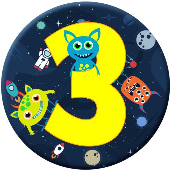 Monster 3 Age Birthday Badge for Kids #904
