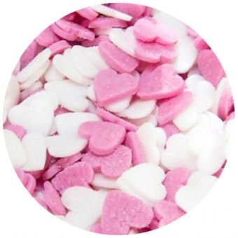 WHITE AND PINK SUGAR HEARTS (BAKE A CAKE), 60G