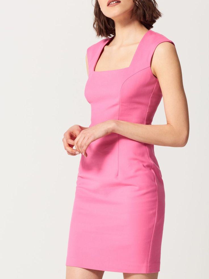 Ołówkowa sukienka z geometrycznym dekoltem, MOHITO, SK130-42X