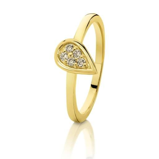 Dreamtime 9ct Yellow Gold Diamond Pear Shape Stacker Ring