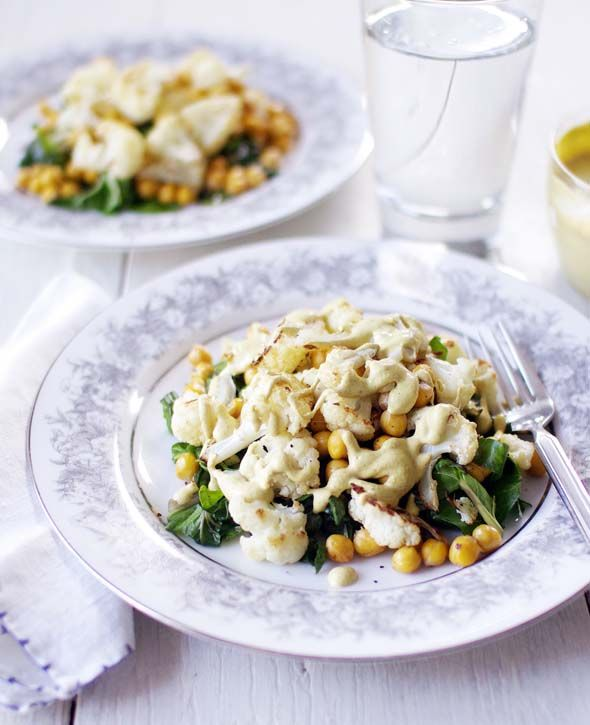 roasted cauliflower & chickpeas with tahini