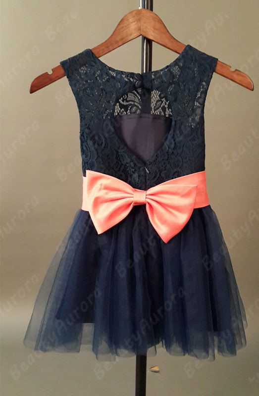 Navy Blue Lace Flower Girl Dress Coral Sash Navy Tulle