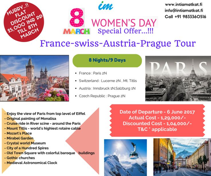 Seeing your overwhelming response for our Swiss tour. Intiamatkat offers another tour to France as Women's Special. Enjoy scenic beauty of Paris with Swiss. Book our Fusion Europe tour at