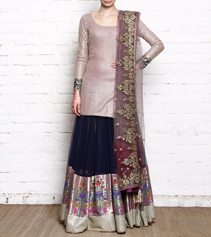 Onion Pink Embroidered Georgette Kurta With Net Skirt