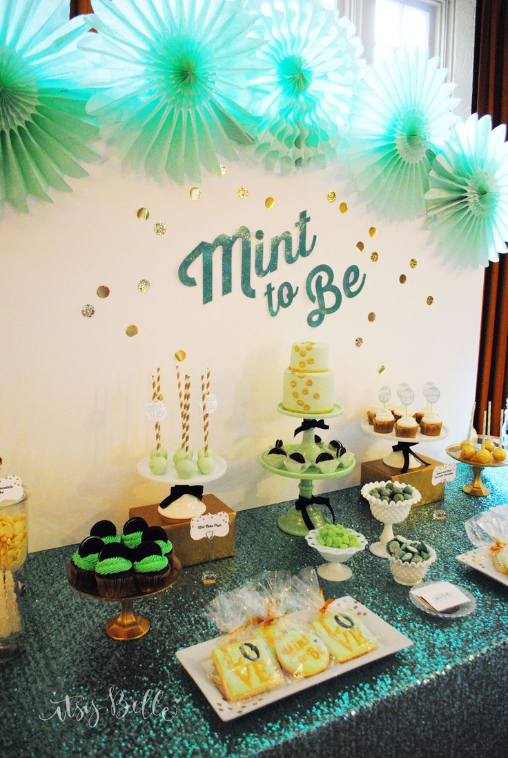 bridal shower themes for spring%0A Mint to Be Bridal Shower Dessert Table  Itsy Belle