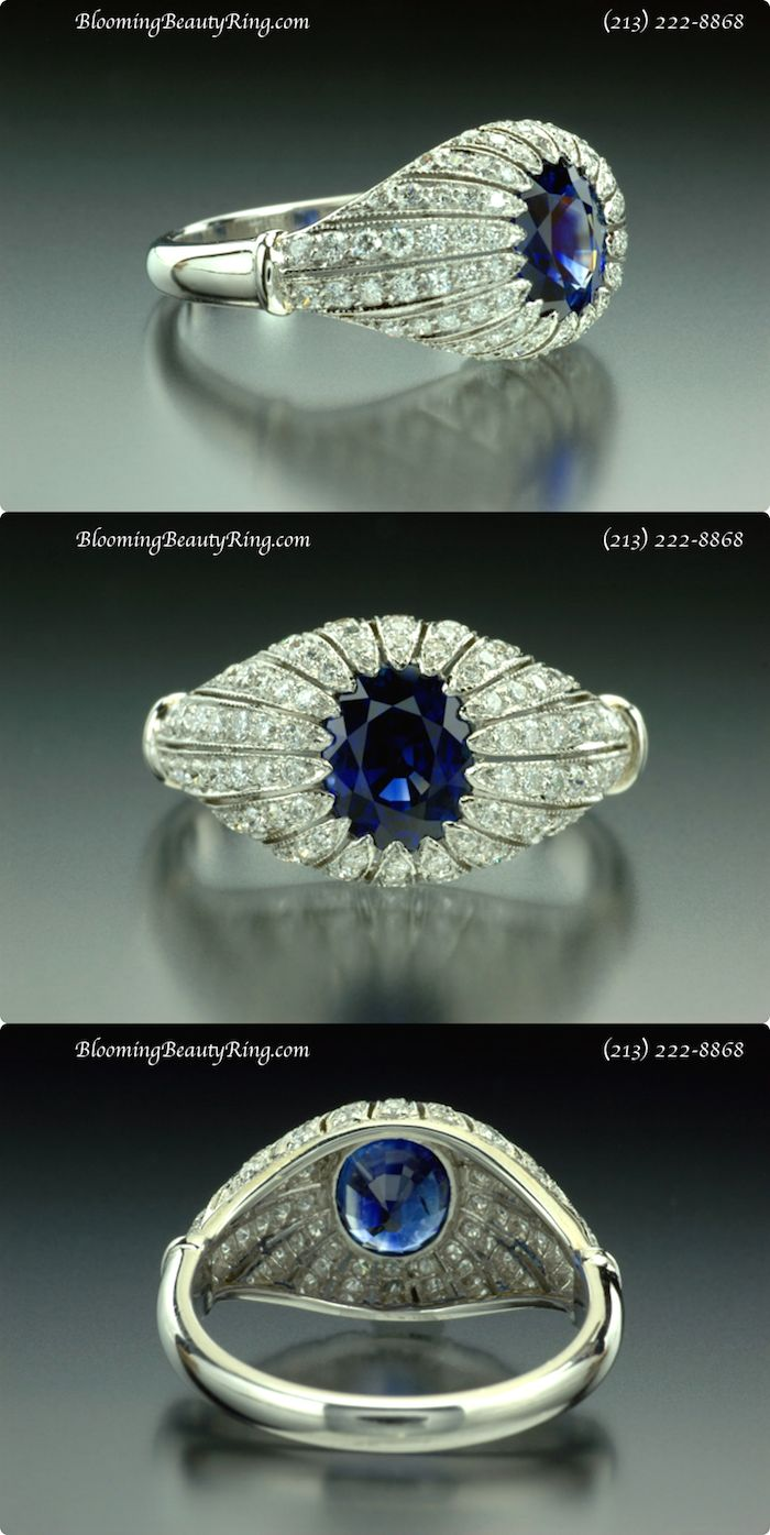 """A Gorgeous Antique Inspired Engagement Ring featuring an Oval Shape, rich """"Deep Blue Sapphire"""" from http://www.BloomingBeautyRing.com  (213) 222-8868"""