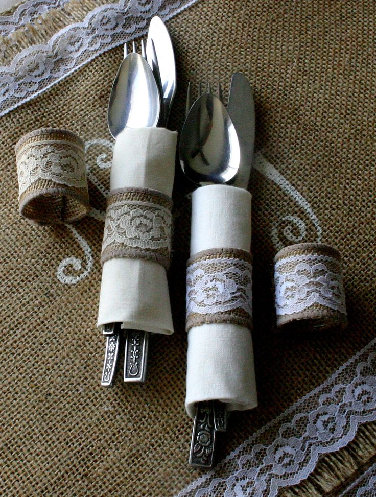 Burlap cutlery holders, 200 for 100 Silverware holders for weddings, country wedding place settings, French Victorian wedding. %s%.50, via Etsy.