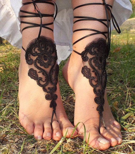 siyah gelinlik halhal, gelinlik dantel halhal Sahil düğün yalınayak sandalet, halhal, halhal düğün, gelin