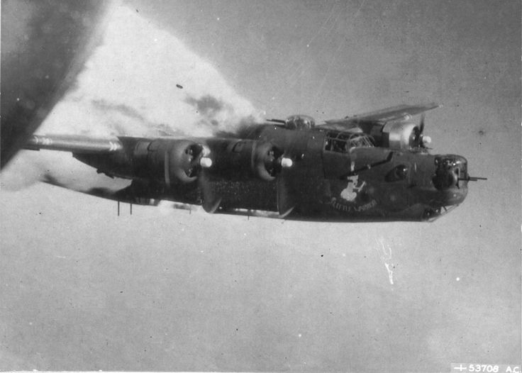 """Fuel tanks of the B-24H Liberator """"Little Warrior"""" with the 861st Bomb Squadron explode over Fallersleben, Germany after anti-aircraft hit, ..."""