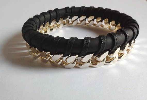 Bracelet in matt black PVC with braided gold chain. by fusabijoux. Explore more products on http://fusabijoux.etsy.com