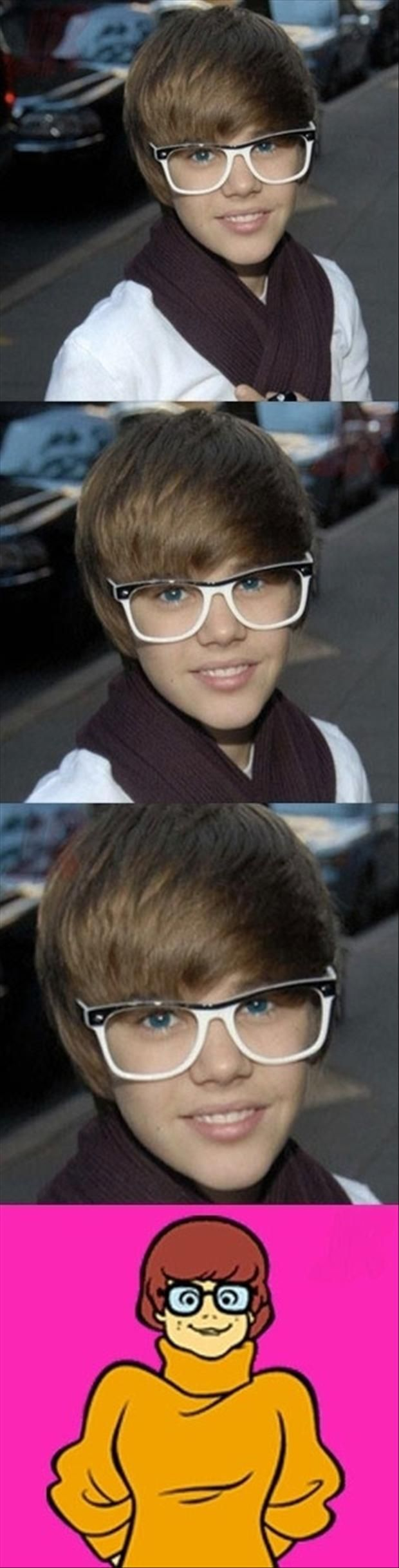 justin beiber looks like velma from scooby doo