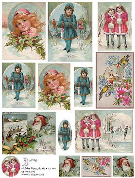 vintage christmas holiday art papers collage