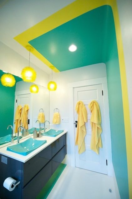 #Bright Contemporary Bathroom By Miller Interior Design, LLC, Via Houzz