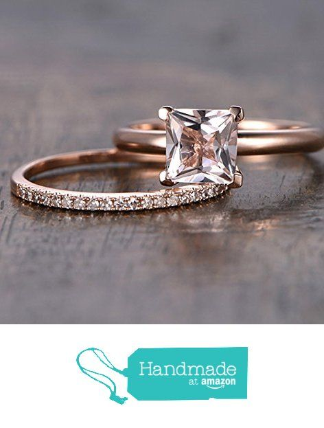 Princess Morganite Engagement Ring Bridal Set Pave Diamond Wedding 14K Rose Gold 6.5mm from the Lord of Gem Rings https://www.amazon.com/dp/B01I08Z80K/ref=hnd_sw_r_pi_dp_RApIxbCE235WD #handmadeatamazon