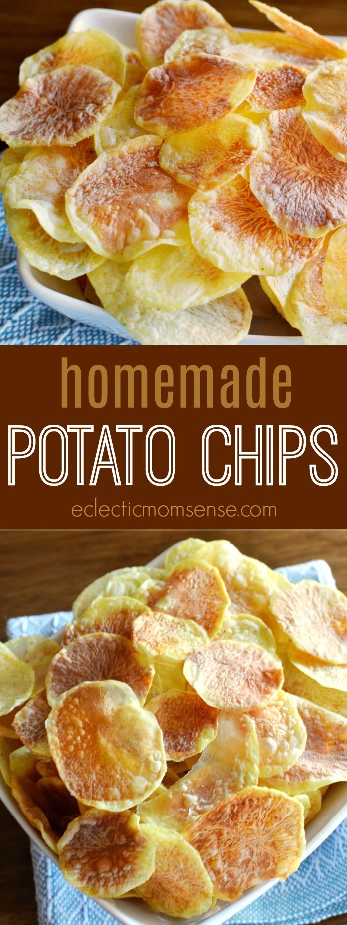 6 minutes to crisp homemade potato chips. No special tools required. #recipe