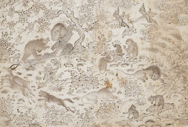Master Muhammad Siyah Qalam. Birds and Beasts in a Flowery Landscape. Late 15th century. From Afghanistan