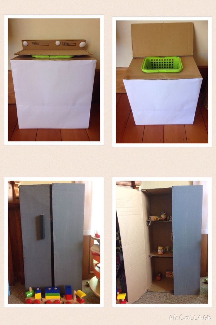 Oh the things you can make with cardboard boxes before you throw them out. I made a fridge and washing machine in less then a few hours. A bit of hot glue, a craft knife, tape, a ruler and pencil is all you need.