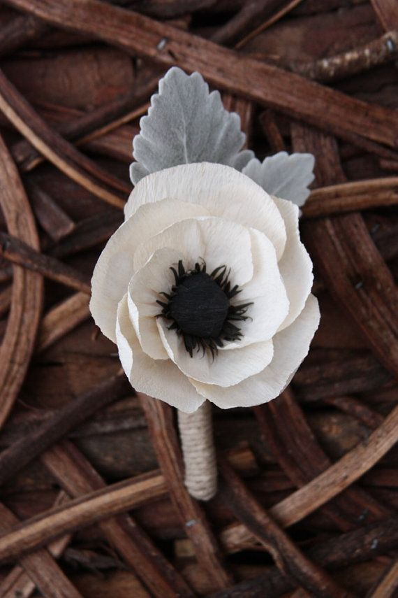 Wedding Crepe paper Anemone boutonniere with dusty by DrewBella1