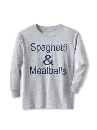 71% OFF Little Dilascia Kid's Spaghetti & Meatballs Long Sleeve Tee (Grey)