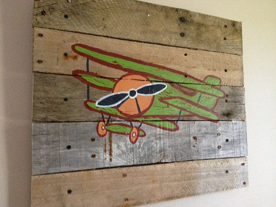 Airplane pallet art 14x14 rustic wall art airplane wall for Airplane wall decoration