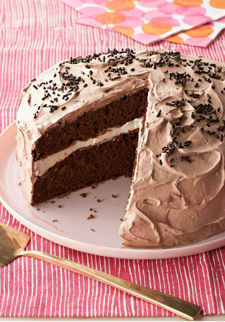Chocolate Cream Cake – Cake mix and instant pudding make putting together this creamy chocolate cake a breeze—which is good news, because they'll be asking for it again!