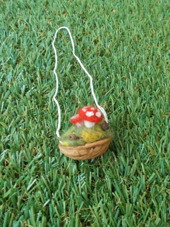 Toadstool Walnut Shell Ornament by LoveandSqualorCrafts on Etsy, $13.00