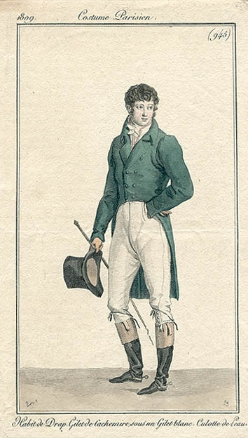 Ch 33.1 Darcy donned his riding gear in preparation for a gallop afterwards. This pic - 1809 woollen coat, cashmere waistcoat under white waistcoat, buckskin breeches, spurs and crop.