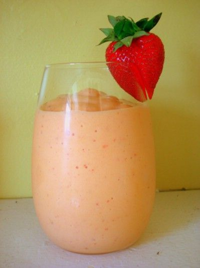 Peach Smoothie...You can substitute nectarines in this smoothie if you prefer them to peaches. Simply blend together:  • 12 ounces strawberry yogurt • 1 cup sliced strawberries – fresh or frozen work fine • 1 cup sliced peaches – or nectarines • 4 or 5 ice cubes