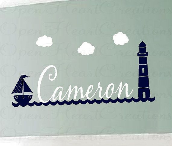 Nautical Name Wall Decals  Baby Nursery by openheartcreations, $49.00