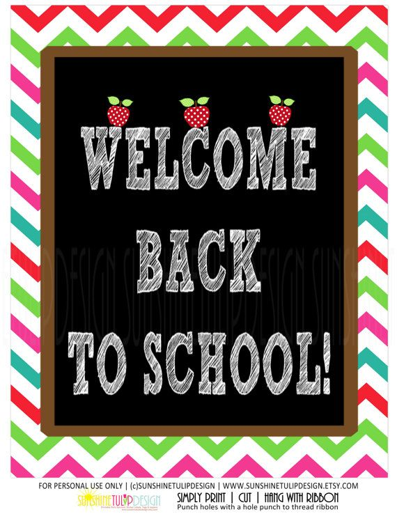 Welcome Back to School Chevron Door Wall or Table sign by SUNSHINETULIPDESIGN DIY printable!