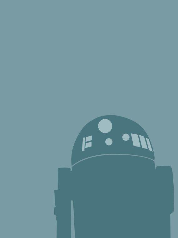 R2D2 8x10 Star Wars minimalist poster in teal by secretalice, $20.00