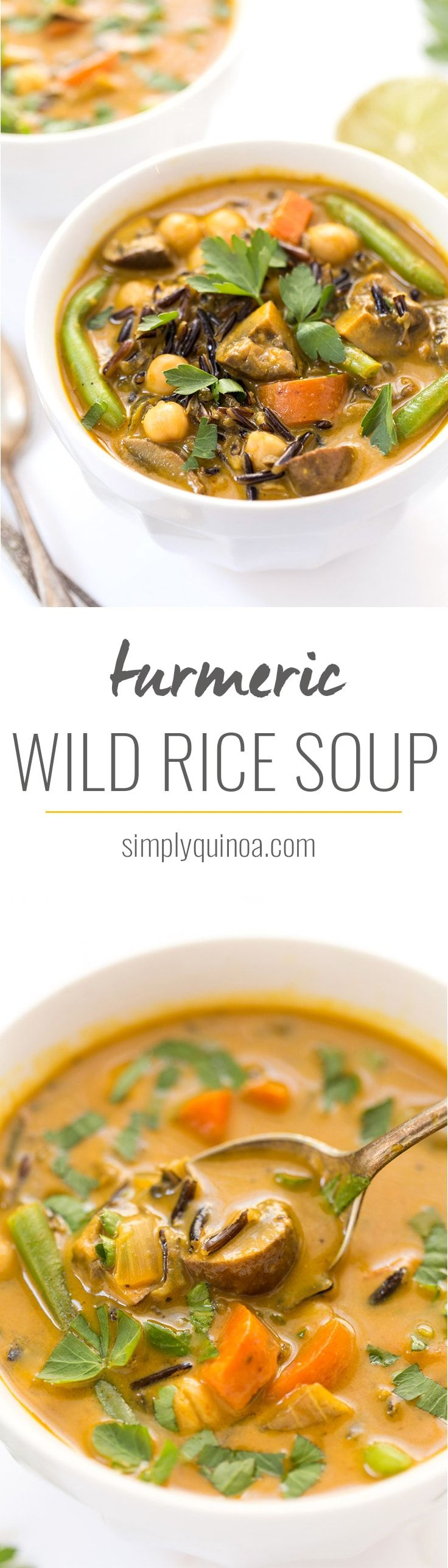 This ultra creamy coconut and turmeric wild rice soup is vegan and is packed with veggies. Makes for an easy one-pot dinner and freezes well for leftovers!