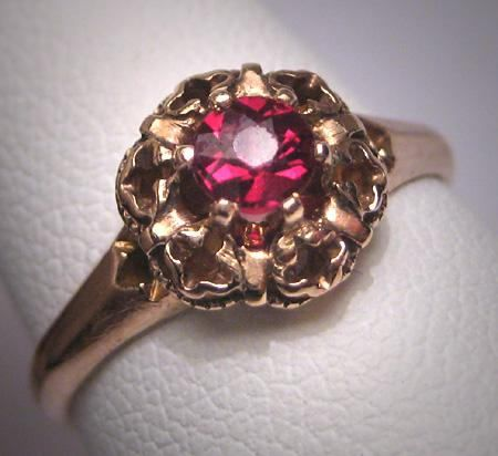 Antique Bohemian Garnet Wedding Ring Vintage Art Deco
