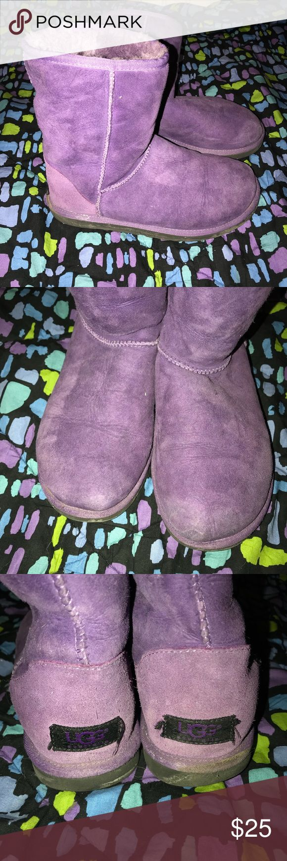 ☮️ Purple UGG Boots ☮️ Purple UGG boots  Size 6 Well worn  Small missing chunk of fur from inside, not visible from outside, see images UGG Shoes Winter & Rain Boots