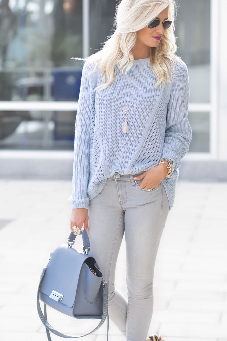 Light Blue Sweater and Gray Pants | Fashion Blogger