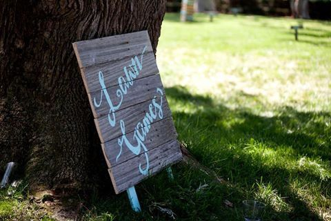 Lawn games, fence paling sign, seafoam, mint