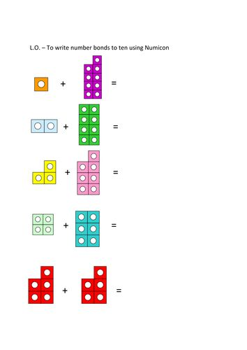 Number bonds to 10 Numicon worksheet