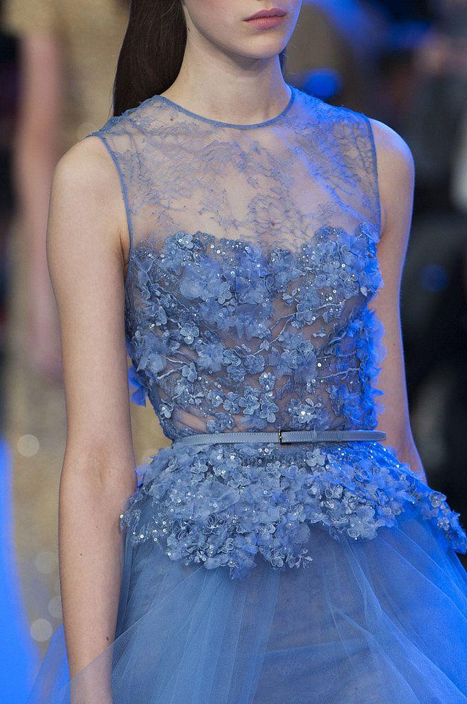 Blue lace details at Elie Saab Haute Couture