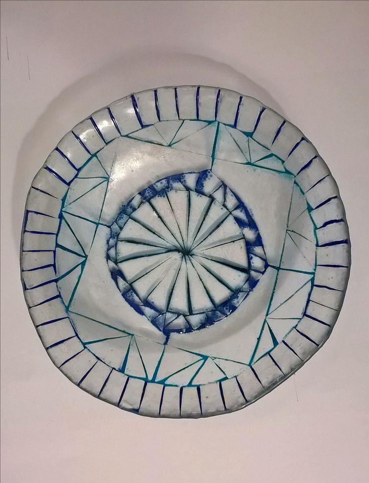 Fusing glass bowl fusingová modrá skleněná miska