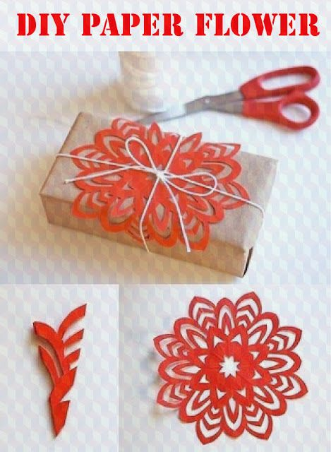 DIY Paper Flower/Snowflake Idea for Packages.
