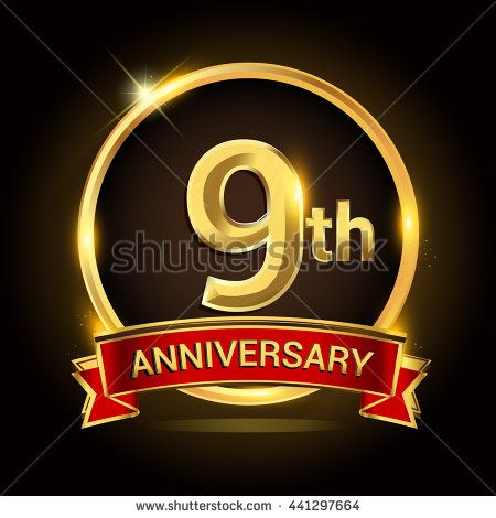 9th golden anniversary logo, 9 years anniversary celebration with ring and red ribbon.