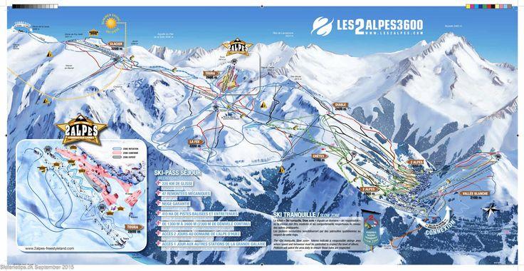 ❄ Updated Les Deux Alpes Piste Map. #skiing ❄ ➽ See high resolution at http://www.skiferietips.dk/frankrig/les-2-alpes/pistekort