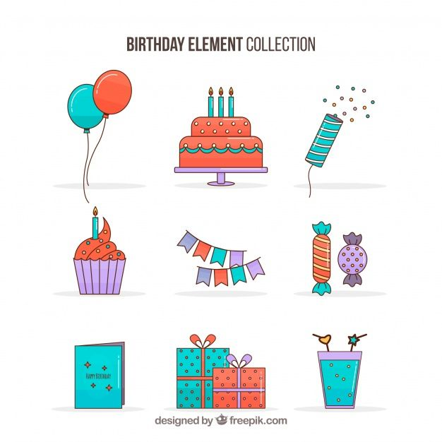 Birthday elements collection in flat style #Free #Vector #illustration