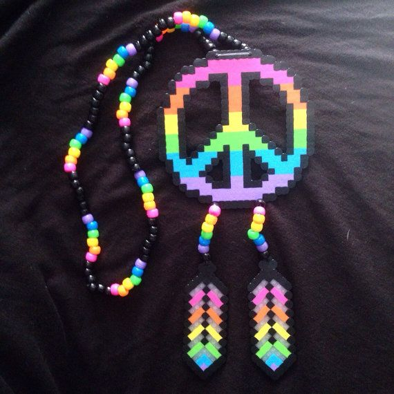 Rainbow Peace Sign Dream Catcher Kandi Necklace by KristynsKandi