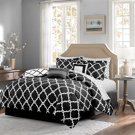 The 5 piece Merritt Comforter Set by Home Essence creates a simple yet chic look in your space. The fretwork design creates a modern look with its white design on a cool black base. This set is completely reversible to a white base with black design allowing you to change the feel of your room instantly.  Two decorative pillows are included to complete the whole set.