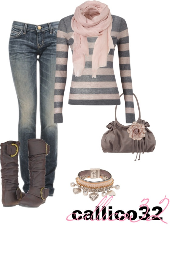 """winter grey and pinks"" by callico32 on Polyvore"