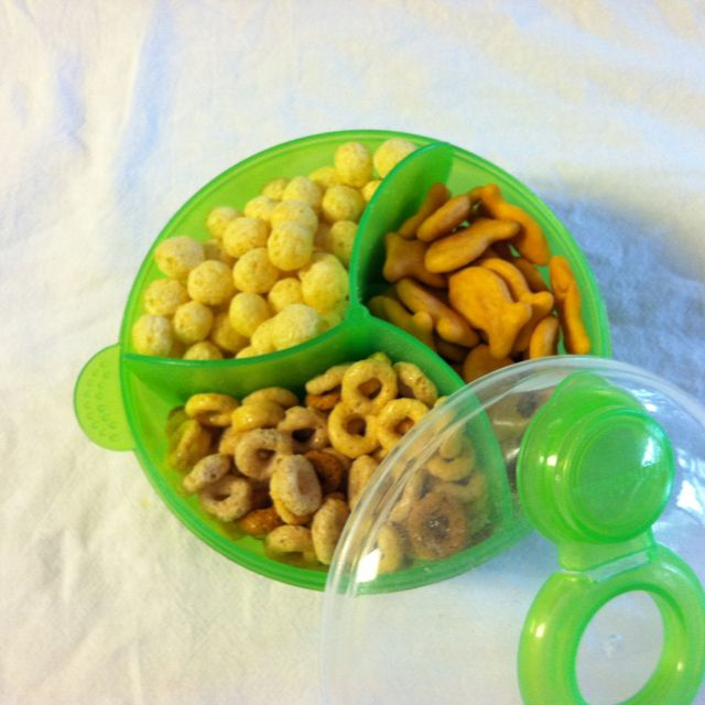 Re-purposed baby formula container for toddler snacks