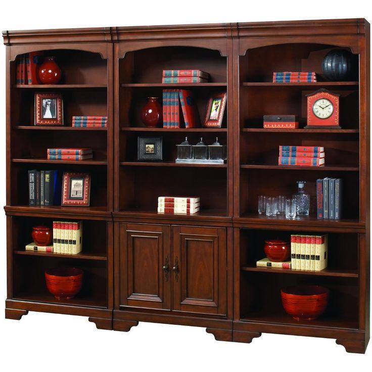 3 Piece Cherry Brown Bookcase Wall - Richmond